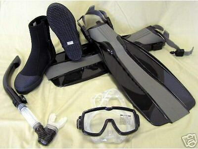 NEW Scuba Dive Mask Semi-Dry Snorkel Boots Fins Gear Set Package ()