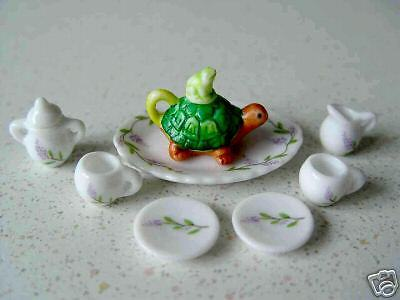 1:12 Porzellan mini Service Schildkröte, neu, sehr schön