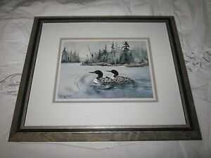 Loon Oil Painting Signed by Joanne Heath and Framed