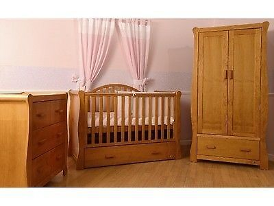 V I B Dax Solid Pine 3pc Nursery Furniture Set Cot Bed Dresser Changer Wardrobe Drawers