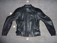 mens racing style fully padded leather biker jacket