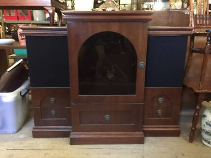 Stereo System Record Player Cabinet Case Speakers CD Cassette Tap