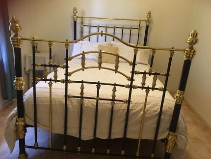 Genuine antique brass double bed