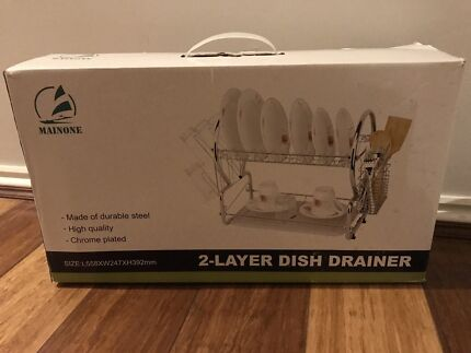 2 Layer Dish Drainer Dish Rack plated steel chrome new