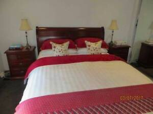 Elegant mahogany queen size bed and two bedside tables Clifton Hill Yarra Area Preview