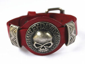 Genuine Leather Harley Davidson Skull Wristband Bracelet -RED