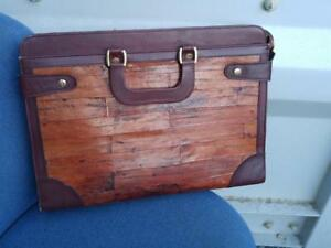 OAKVILLE  Eelskin and Leather Vintage Briefcase Business Valise Bag Brown Unisex Mahogany Brown Retro Unique mens womens