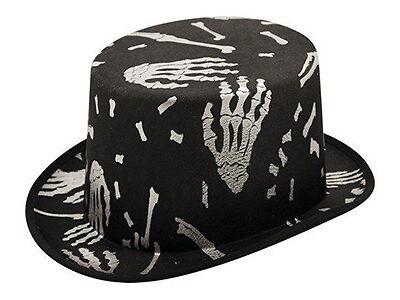 Black Top Hat with Skeleton Print Halloween