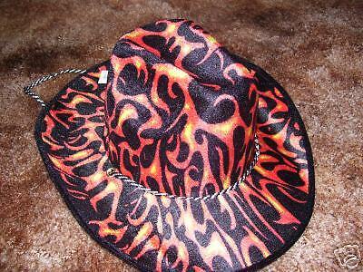 Orange Cowboy Hat (Black/Orange Flameprint Cowboy)