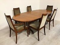 1980s G Plan extending oval dining table with 6 chairs
