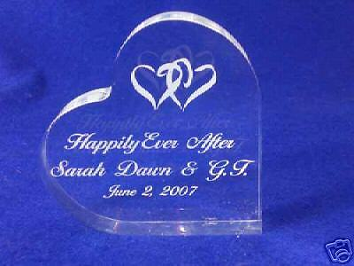 Happily Ever After Cake Topper (Crystal  Heart Happily Ever After Cake Topper Engrave )
