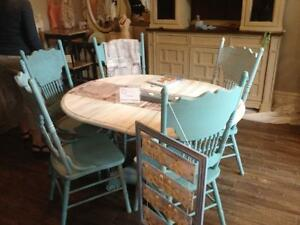 Rustic and Beachy Dining Table & 6 Chairs