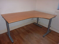 Ikea Gallant Birch large corner computer office work desk table with height adjustable legs