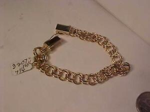 "3207-14K ANTIQUE CHARM BRACELET-TONGUE &  BOX CLOSURE-7 1/4"" --21.0 GRAMS-SHIP CANADA ONLY -FREE SHIPPING"