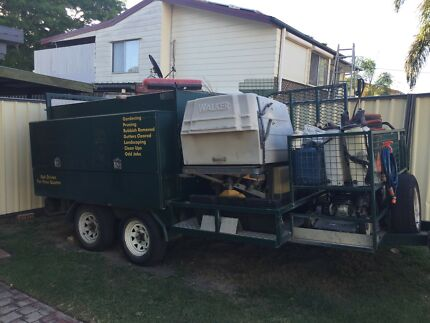 Landscapers trailer and equipment