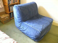IKEA LYCKSELE single sofa bed chair bed single guest bed futon BLUE COVER