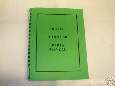 Oliver Model 60 Tractor Parts Manual - New Free Shipping