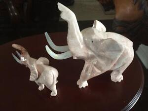 Marble elephants and carved elephants in tusk