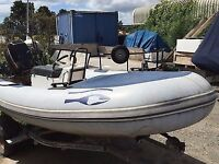 4.2m ribeye inflatable with 2 stroke 40HP Mercury Outboard engine, recently serviced, road trailer