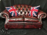 Chesterfield Style Leather Sofa 2 seater Oxblood Red