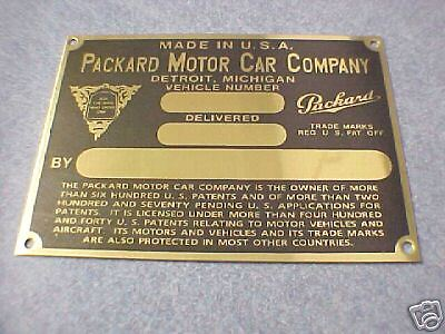 PACKARD 1926 to 1932 Data Plate Emblem Plackard Parts for sale  Veradale