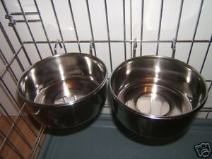 PAIR  STAINLESS 2 STEEL DOG BOWL FOR CAGE CRATE HOOK