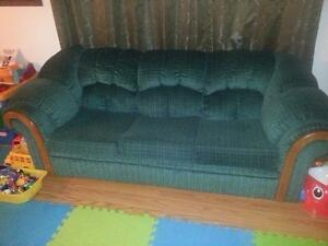 Green Sofa Bed and Love Seat