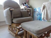 Nursing / feeding glider rocking / rocker chair & footstool