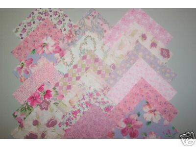 PINK Shades Variety Cotton Quilt Fabric Squares 5 inch Charm Blocks Pink Fabric Shade