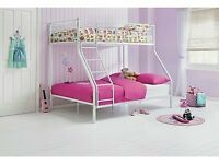 New White triple sleeper bunk bed frame. Double bed / single bed. 1/2 shop price. Boxed. Delivery.