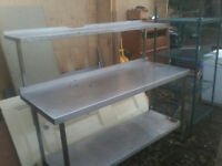 STAINLESS STEEL CATERING TABLE WITH SHELF FOR SALE