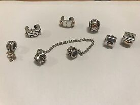 Pandora charms clips and safety chain