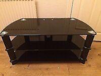 Black glass John Lewis TV stand