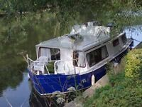 Live aboard wide beam steel boat / houseboat
