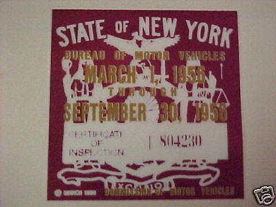 new york 1956 registration inspection sticker windshild