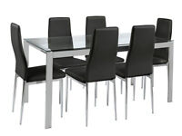 Hygena Pluto Glass Top Dining Table and 6 Chairs - Black