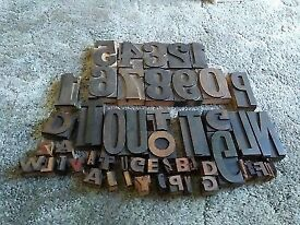 Wooden printing block letters