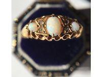 Antique (circa 1900) 18 carat yellow gold, opal, diamond ring.