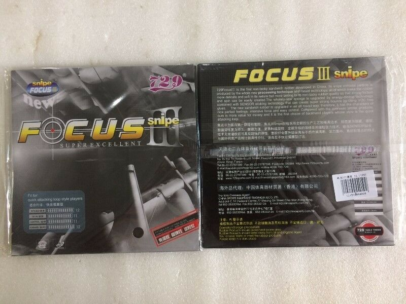 TABLE TENNIS RUBBER : 729 FOCUS III SNIPE (BRAND NEW)