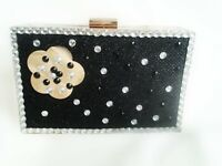 Black Clutch Bag Customised with Sequins and Gems!