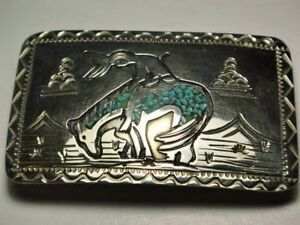 NAVAHO  HANDMADE SILVER and TURQUOISE SIGNED W.C.B. BELT BUCKLE