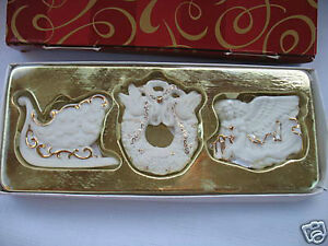 Avon Christmas White Porcelain Ornaments with gold trim