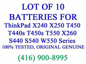 LOT OF 10 x GENUINE Lenovo Battery for ThinkPad X240 X250 T450 T440s T450s T550 X260 Series Laptop Batteries Original