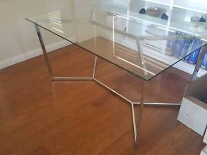 Glass Freedom Table Chrome Silver legs Neutral Bay North Sydney Area Preview