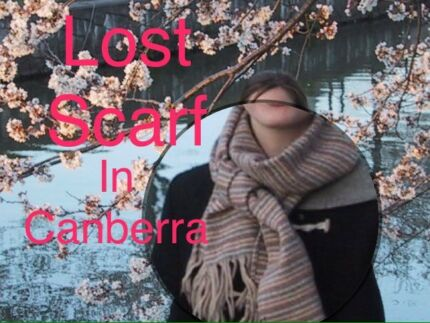 Wanted: LOST SCARF-tan, grey, cream stripes - $50 REWARD
