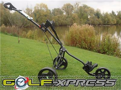 GreenWayGolf - 3 Wheel Push/Pull Compact Golf Trolley Black