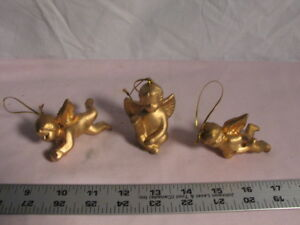 Three Vintage Gold Painted Ceramic Ornaments