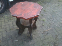 SMALL WOODEN TABLE OBSCURE ROUND TOP