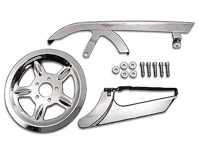Chrome Rear Upper & Lower Belt Guard Pulley Cover Kit Harley XL 04-16