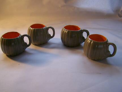 Retro  1970's Pumpkin Shaped Cup x 4 Cups WILL POST